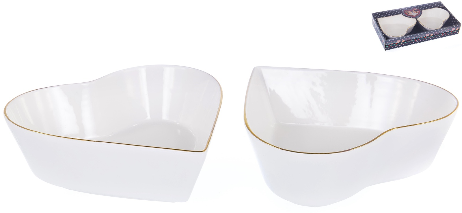 Набор 2 фигурных салатника размером 16см, ГРАЦИЯ, NEW BONE CHINAа NEW BONE CHINA, декор белый с золотом, подарочная упаковка с окном и бантом, ТМ Balsford, 101-01049