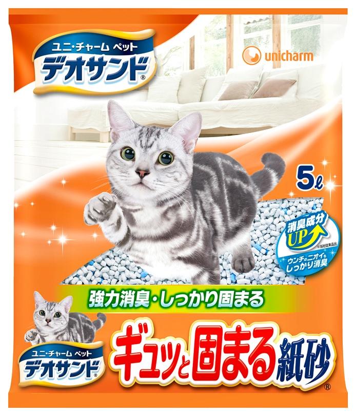 Наполнитель бумажный UNICHARM для кошачьего туалета, с дезодорирующими компонентами, 5 л. шарики дезодорирующие для кошачьего туалета unicharm мягкий мыльный запах 450 мл