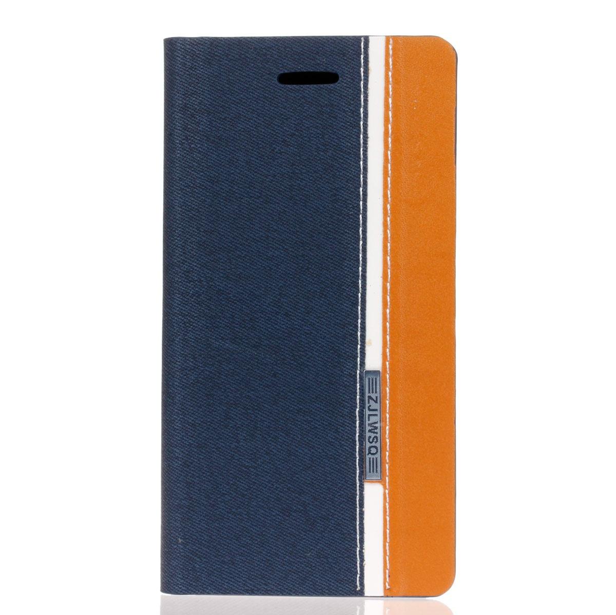Для Samsung Galaxy J1 (2016) SM-J120 Кожаный чехол с флип-чехол с гнездами для карт и функцией стойки (темно-синий + оранжевый) стоимость