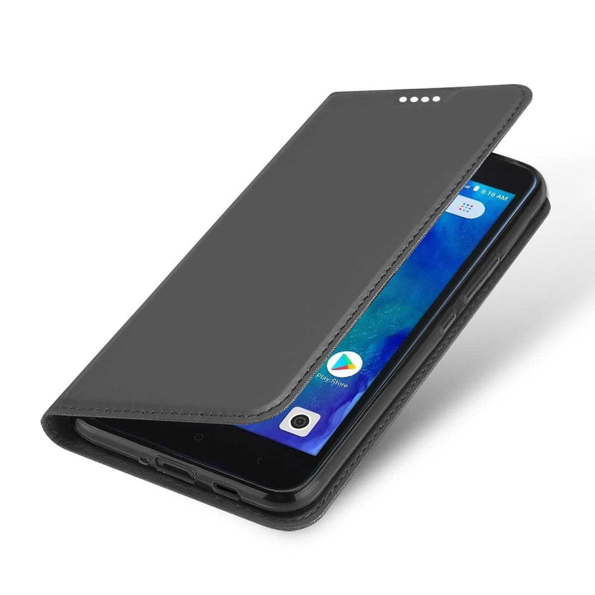 Xiaomi Redmi Go Роскошный Флип Кожаный Чехол Тонкий Книжный Дизайн Магнитный Защитный Чехол Стенд с Слотом Карты Серый