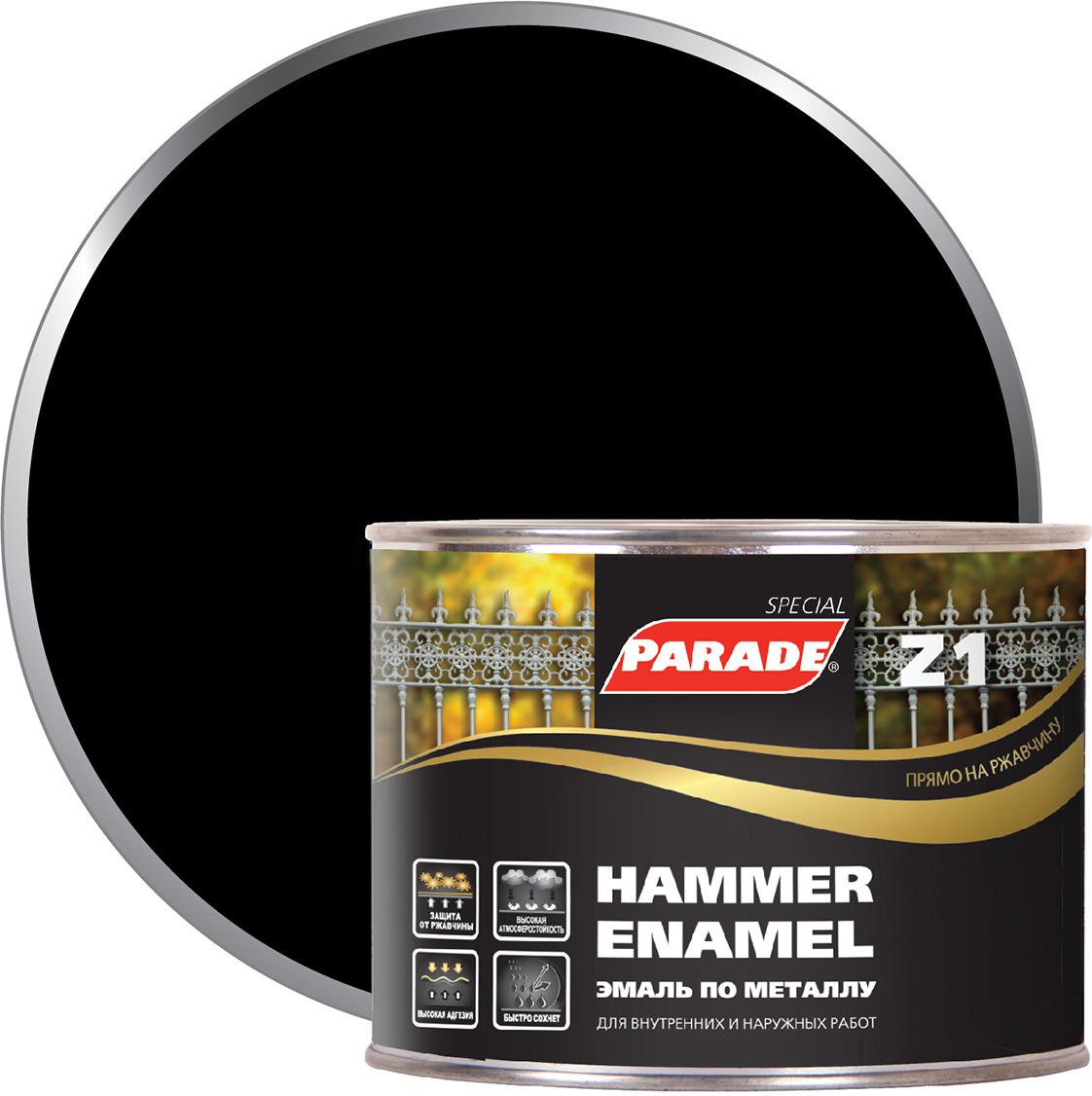 Фото - Эмаль по металлу Parade Z1, гладкая, 543-102 черный, 450 мл финишный гвоздь swfs свфс din1152 1 8х40 25кг тов 041025