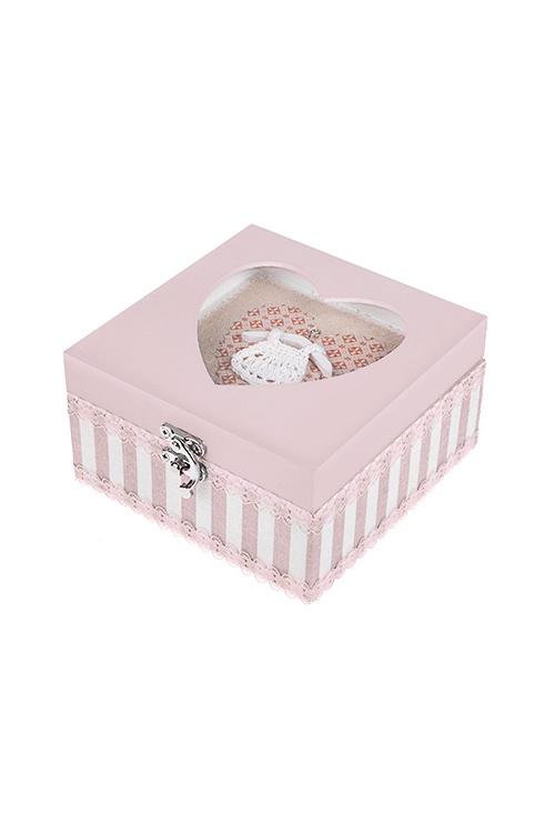 Шкатулка Дамские штучки, 15*16*8см, МДФ, металл, стекло, розовая шкатулка розовая обувь luber