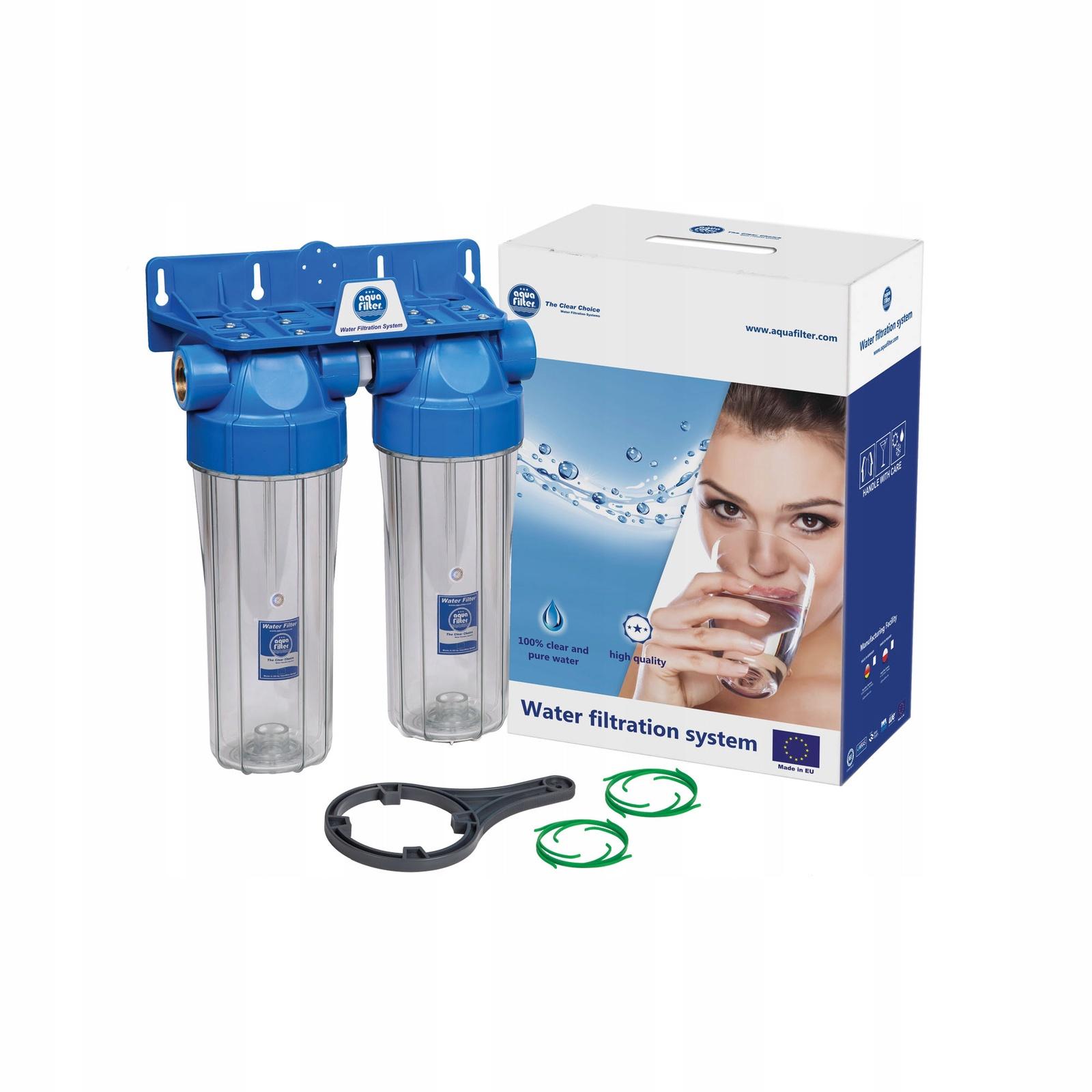 Сборка из двух прозрачных корпусов для холодной воды 10SL, резьба 3/4, Aquafilter FHPRCL34-B-TWIN, 474