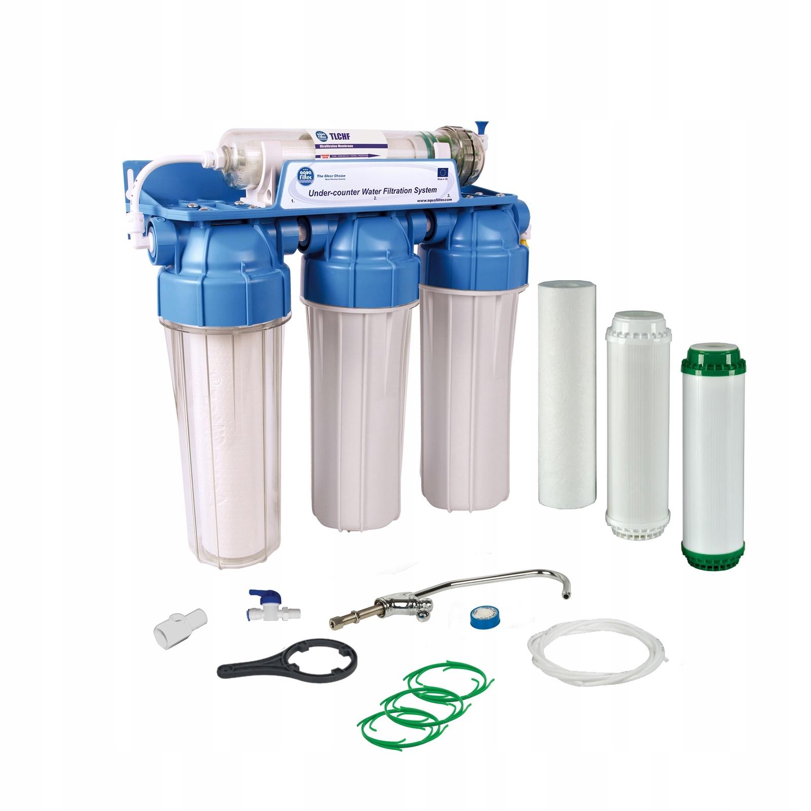 Четырехступенчатая система, умягчение и обезжелезивание воды, с УФ мембраной - 100% удаление вирусов бактерий, Aquafilter FP3-HJ-K1, 505