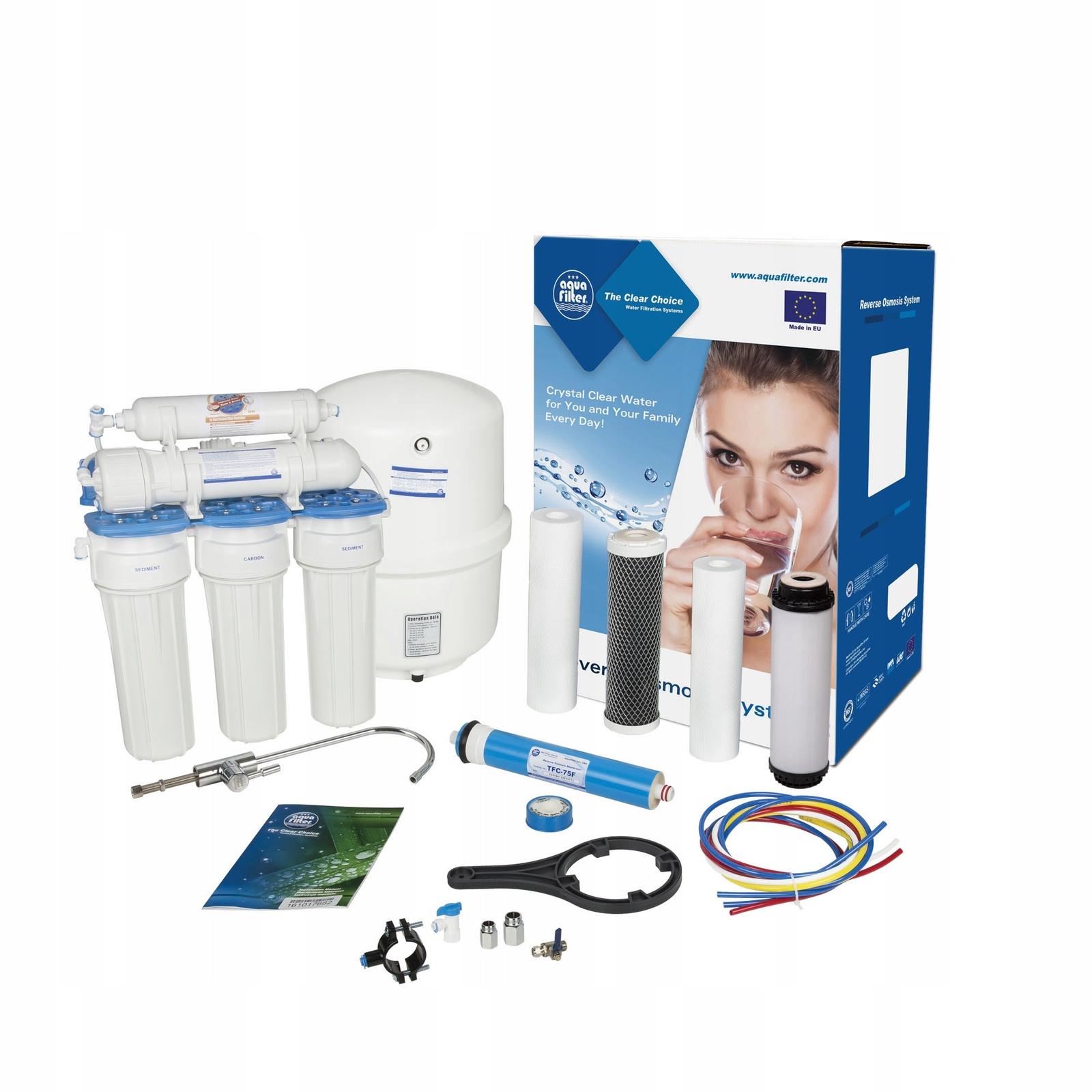 Пятиступенчатая система обратного осмоса, комплексная очистка, удаление вирусов и бактерий, Aquafilter RX55249516, 518