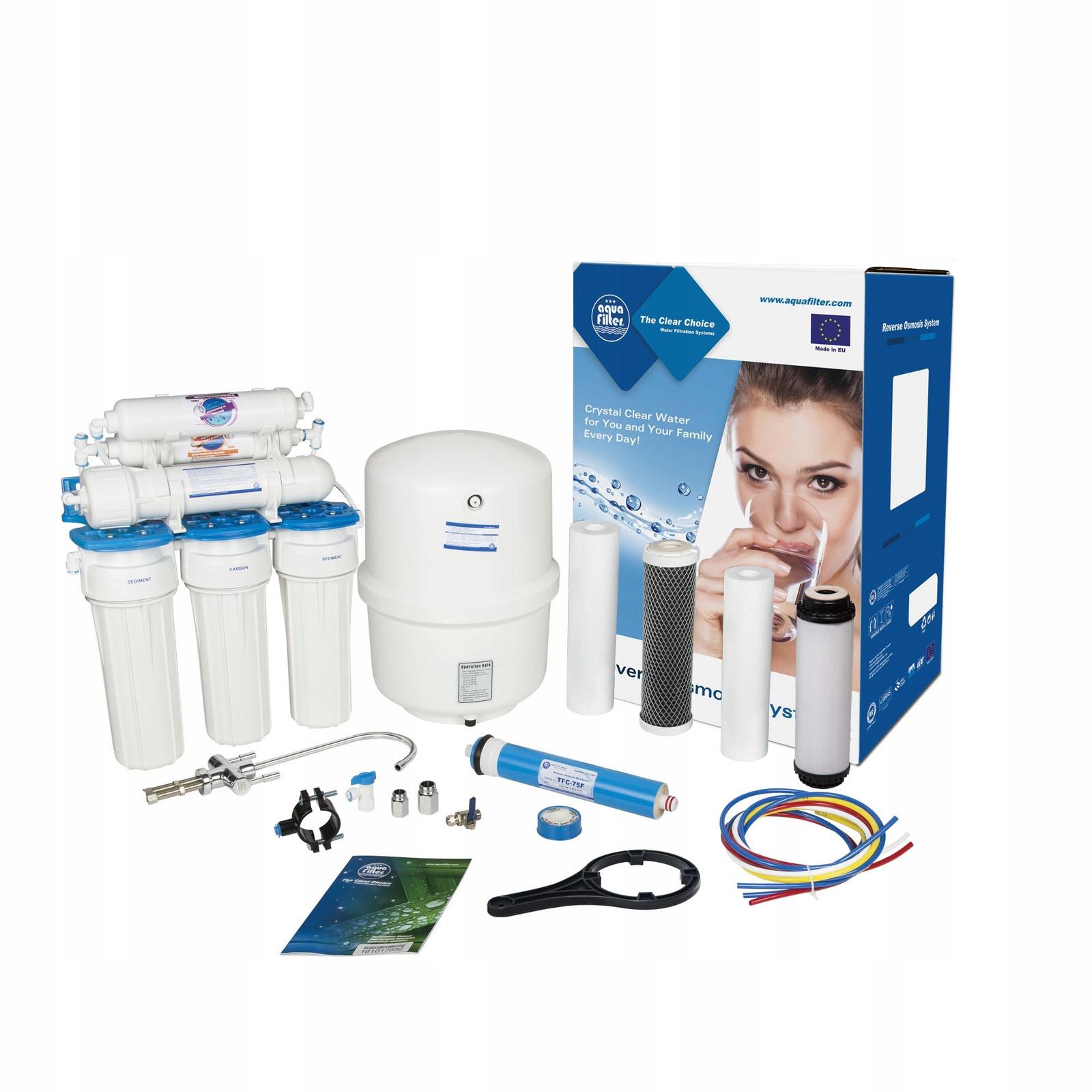 Шестиступенчатая система обратного осмоса, комплексная очистка, удаление вирусов и бактерий, Aquafilter RX65259516, 519