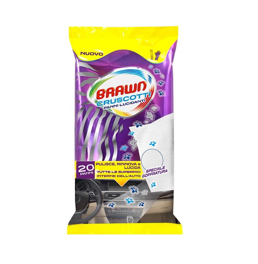 040692 Влажные салфетки для автомобиля Cruscotti Panni Lucidanti с антистатическим эффектом, 20 шт/упак, Brawn