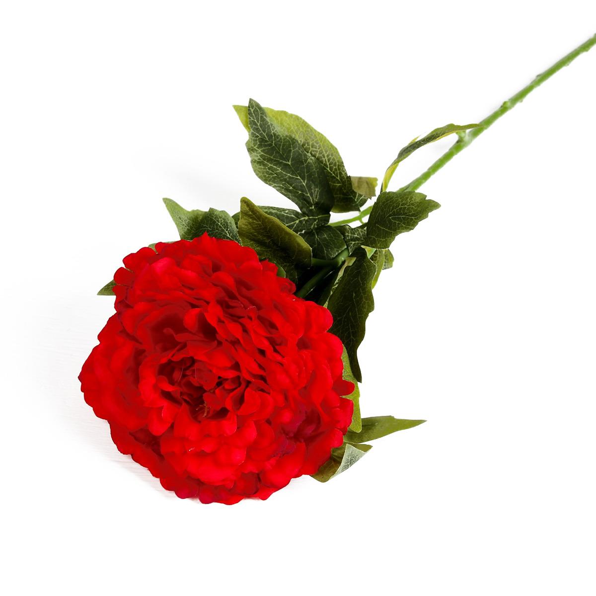 Искусственные цветы Пышный пион, 3004623, красный, 70 см