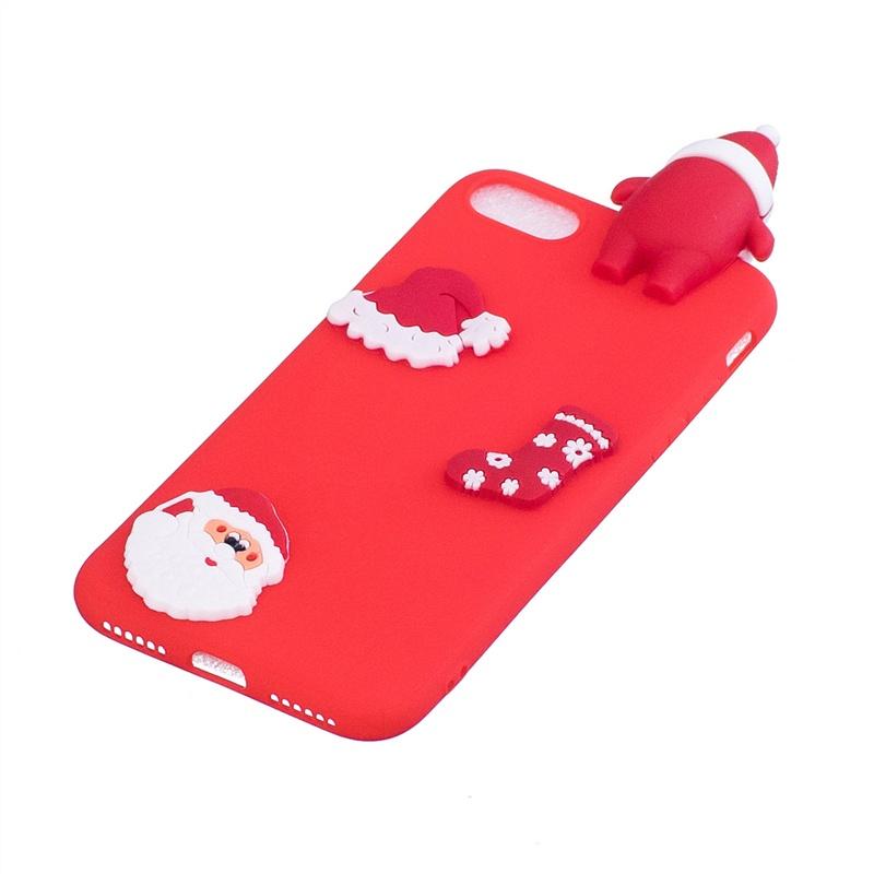 Moonmini для iPhone 7 / iPhone 8 Мягкий TPU 3D Симпатичный мультфильм Новогоднее украшение Телефон Чехол Защитная оболочка (Санта-красный) (16)