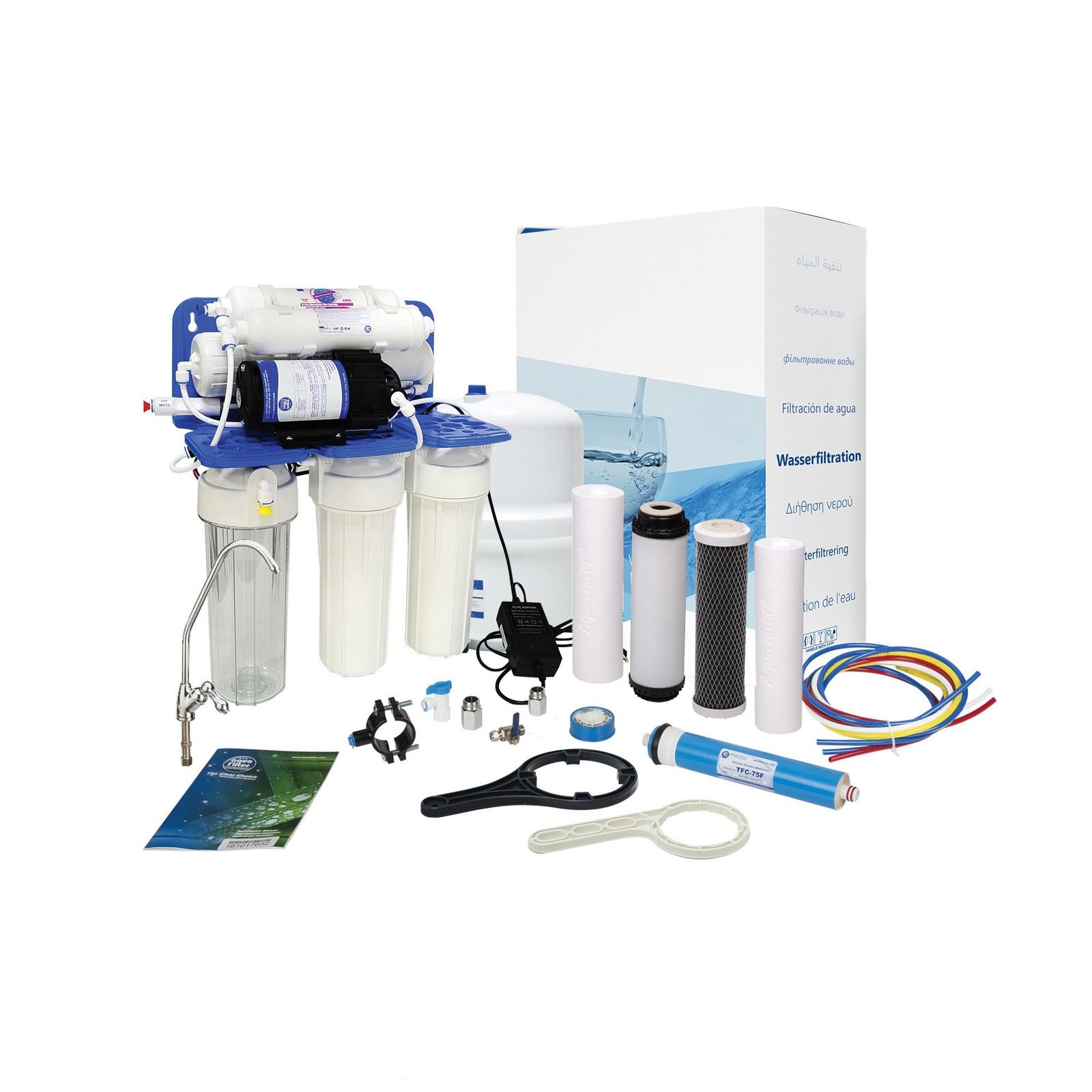 Шестиступенчатая система обратного осмоса с помпой, комплексная очистка, удаление вирусов и бактерий Aquafilter RP65139715, 521