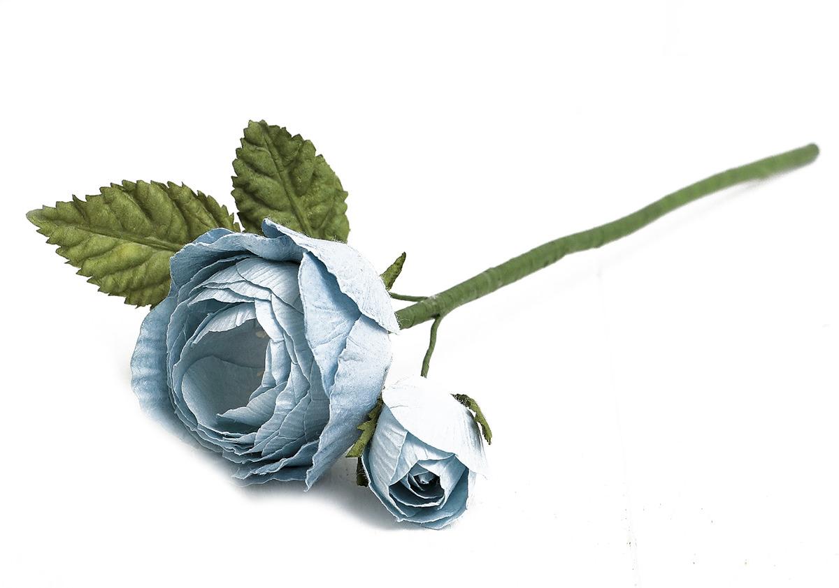 Искусственные цветы Королевская роза, 3257320, голубой, 25 см