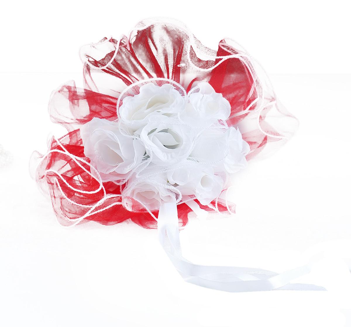 """Букет невесты """"Каприз"""", 2569681, белый, красный"""