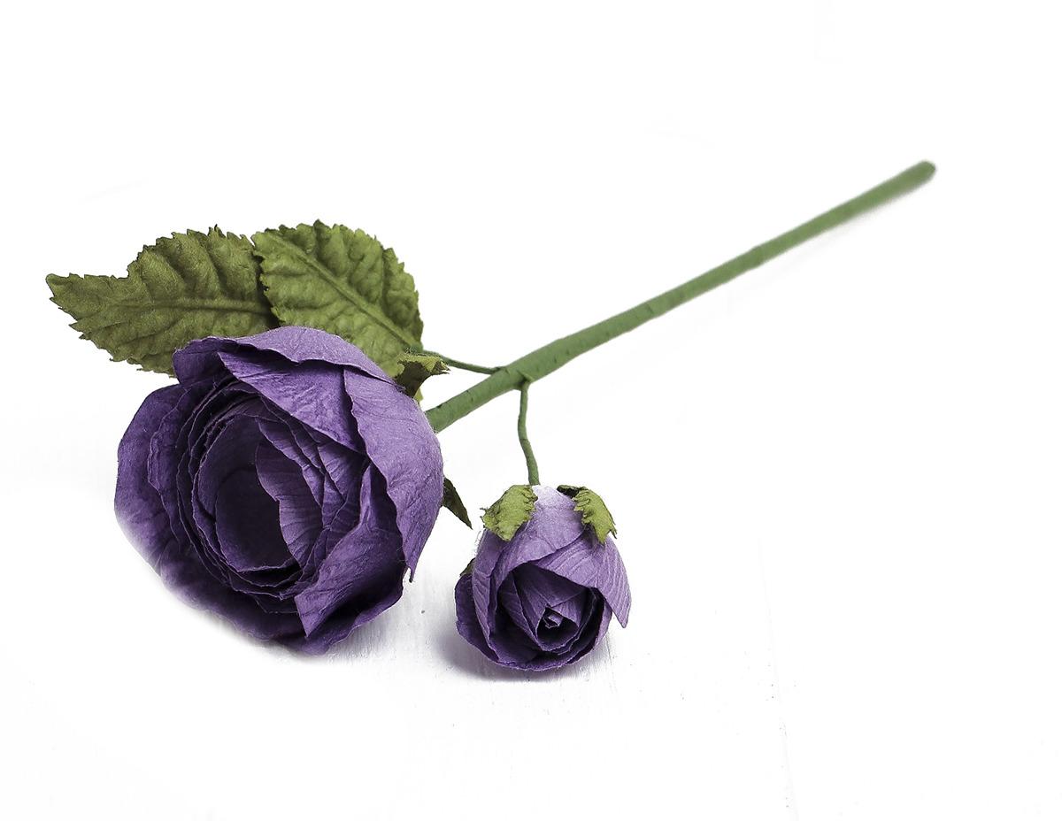 Искусственные цветы Королевская роза, 3257319, фиолетовый, 25 см