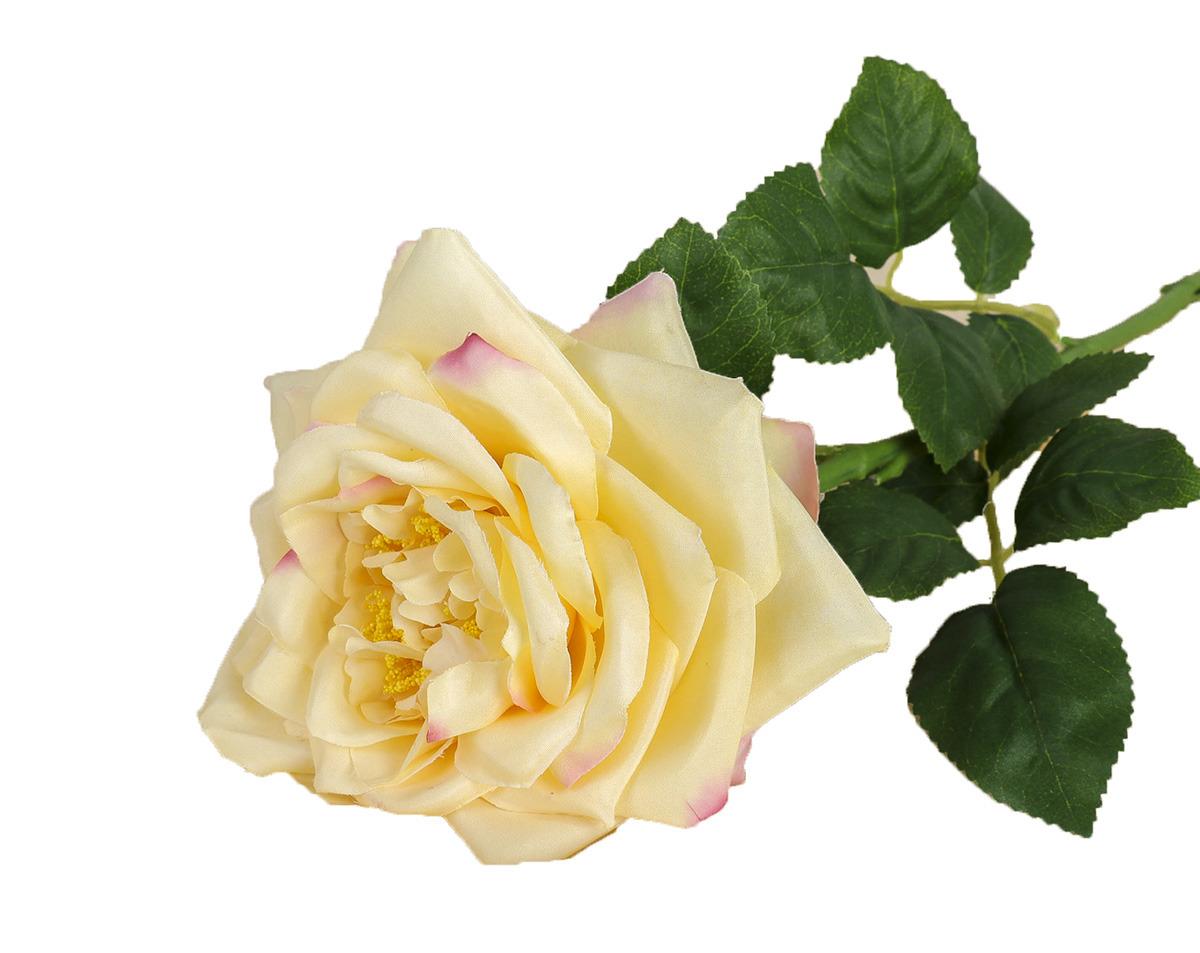 Искусственные цветы Роза пиония, 3933382, желтый, 60 см