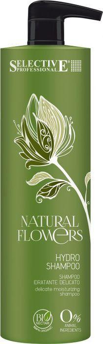 Шампунь для волос Selective Professional Natural Flowers Hydro Shampoo Аква, для частого применения, 1 л
