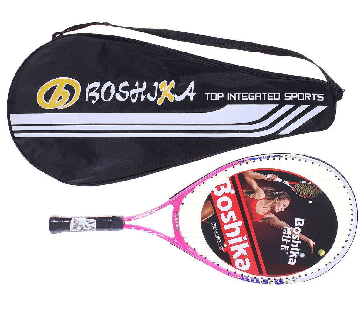 Ракетка для большого тенниса детская Boshika, 1526566, розовый, в чехле