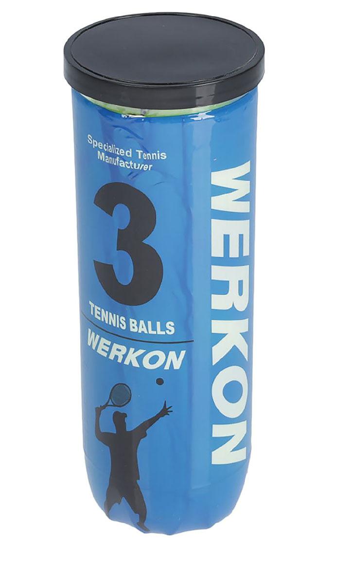 Мяч для большого тенниса Werkon PRO, 1864683, голубой, 3 шт