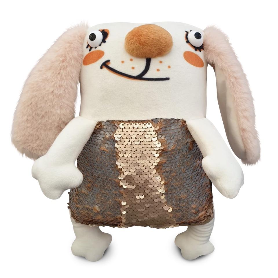 Мягкая игрушка Заяц Мини Диско 27см с пайетками