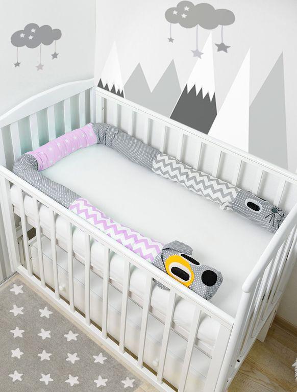 Бортик в кроватку Pillolu Котопёс (сиреневый, серый)