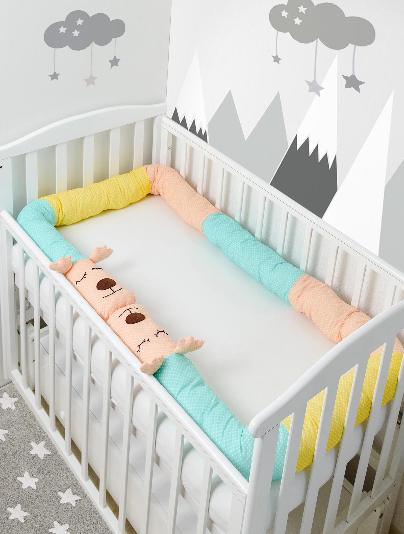 Бортик в кроватку Pillolu Оленёнок (мята, персик, желтый)
