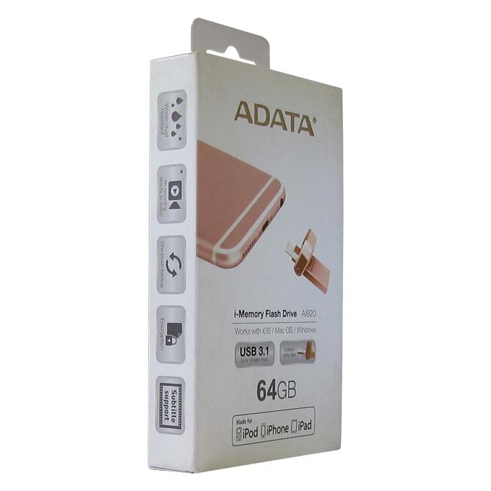 USB Флеш-накопитель ADATA AAI920-64G-CRG 64GB Lightning + 3.1, цвет: розовое-золото