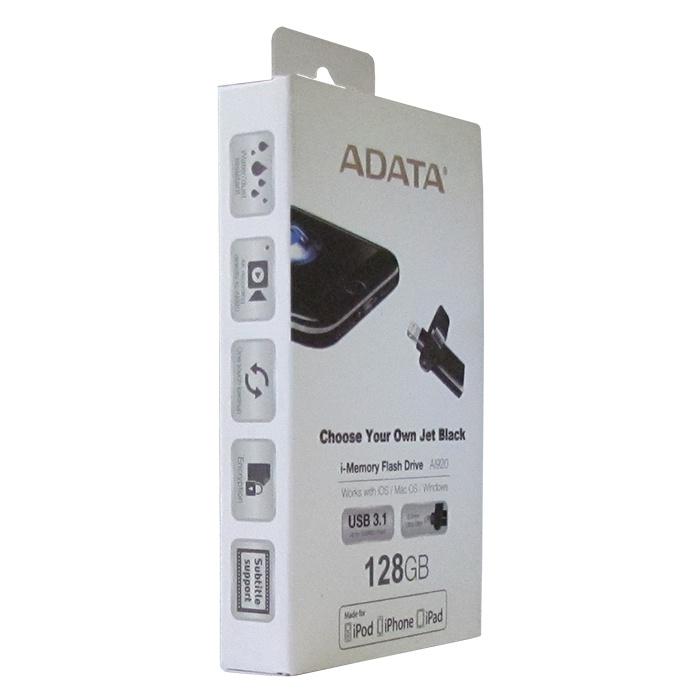 USB Флеш-накопитель ADATA AAI920-128G-CBK 128GB Lightning + USB 3.1, цвет: черный