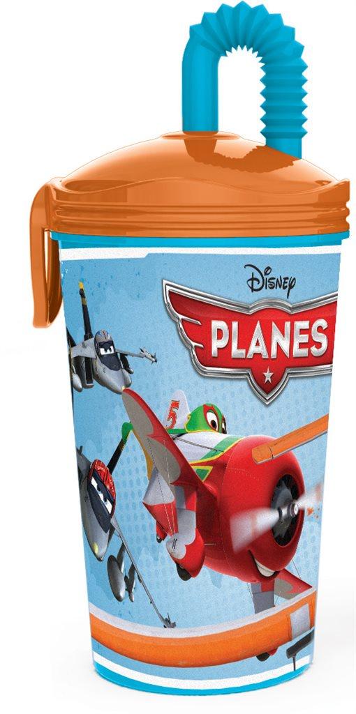 Стакан пластиковый с соломинкой Stor (430 мл). Самолеты, арт.36430 стакан stor суперсемейка 2 с соломинкой и крышкой 8230 красный 430 мл