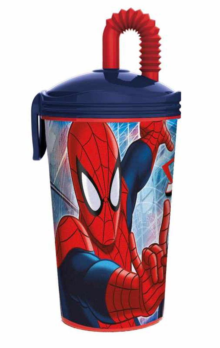 Стакан пластиковый с соломинкой Stor (430 мл). Человек-паук, арт.47330 стакан stor суперсемейка 2 с соломинкой и крышкой 8230 красный 430 мл