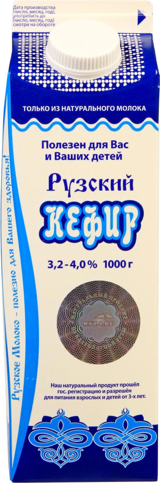 Кефир Рузское молоко, из цельного молока, 3,2-4%, 1 л