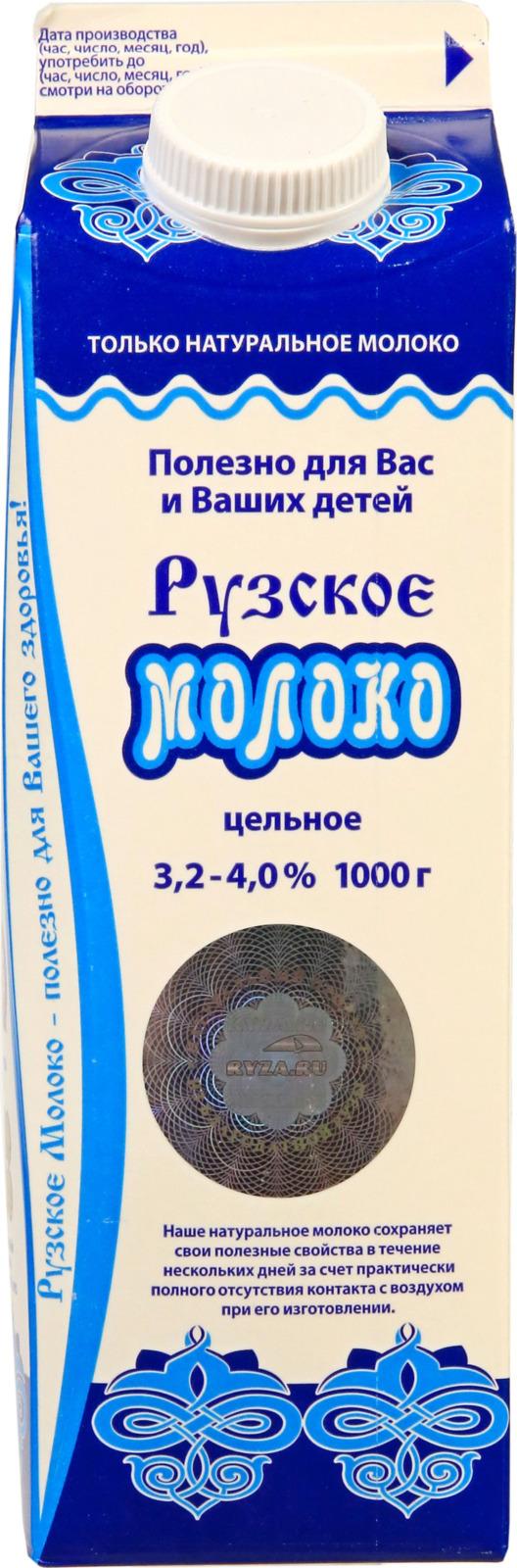 Молоко Рузское молоко, пастеризованное цельное, 3,2-4%, 1 л