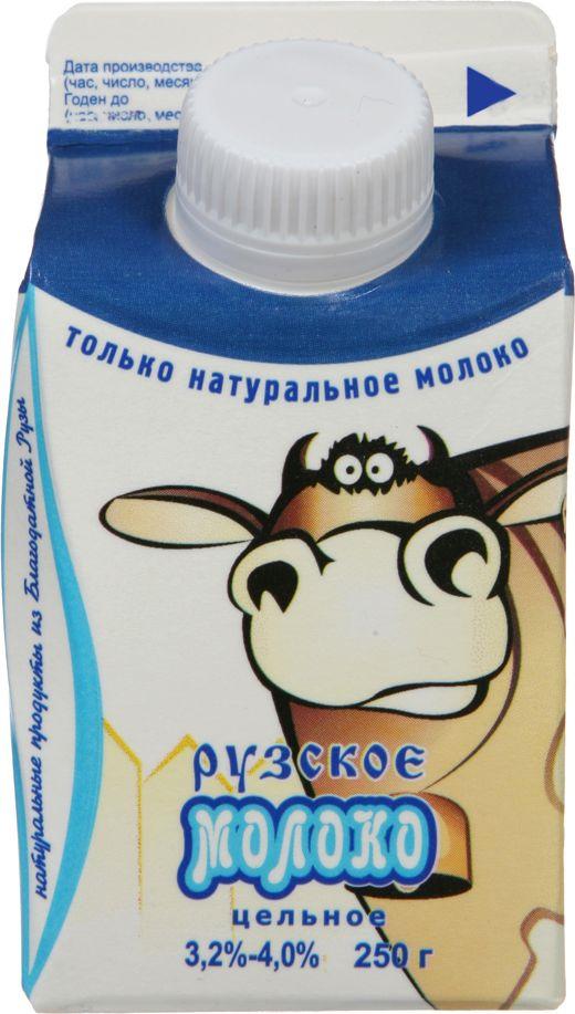 Молоко Рузское молоко, пастеризованное цельное, 3,2-4%, 250 г