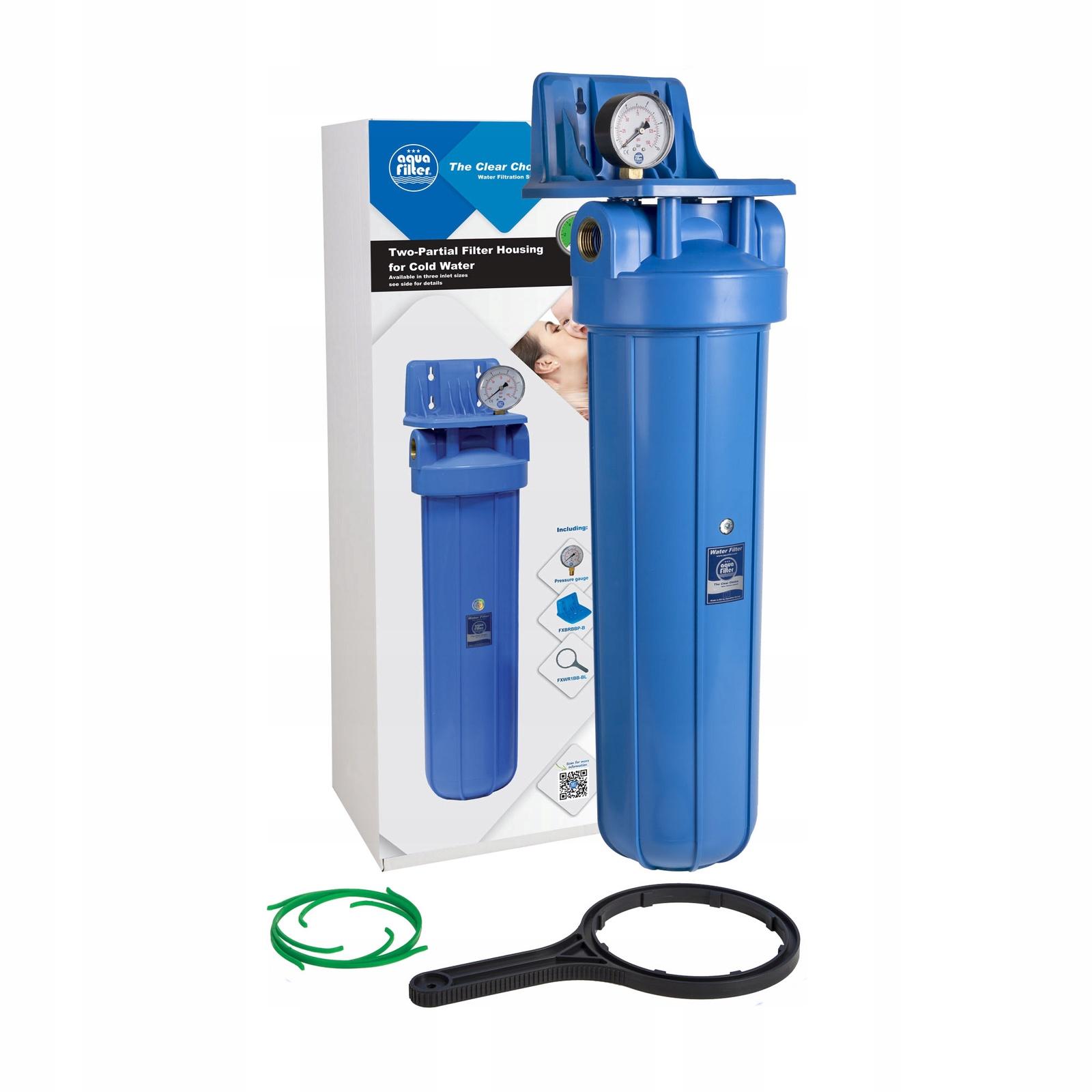 Магистральный корпус для холодной воды 20BB, синий, с вздушным клапаном и манометром, резьба 1, Aquafilter FH20B1-B-WB, 564
