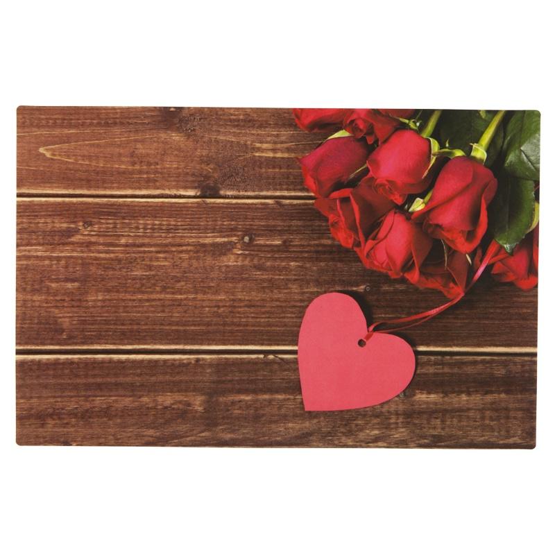 Набор индивидуальных салфеток (4 шт.) Красные розы и сердце 43х28см.