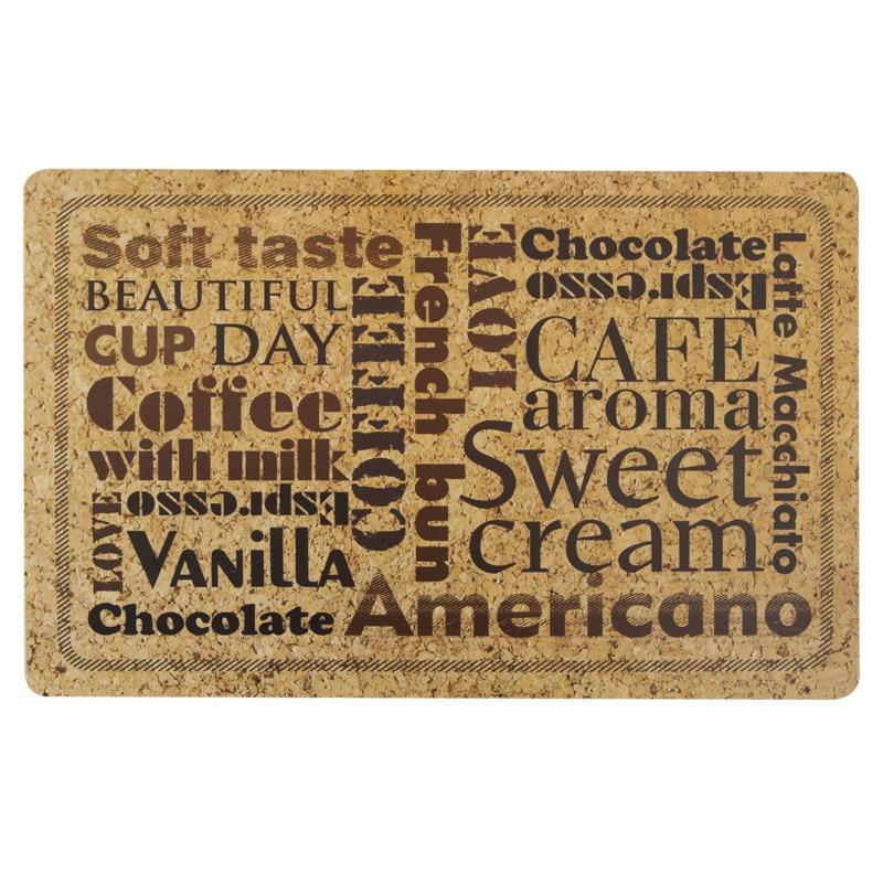 Набор индивидуальных салфеток (4 шт.) 44х28.5 см Кофе - надписи с пробковой подложкой