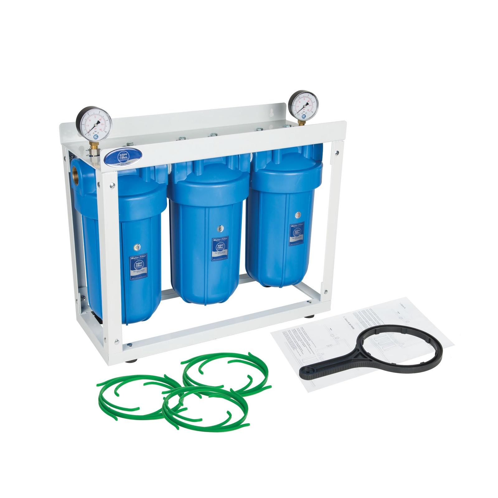 Фильтр из 3-х корпусов 10 ВВ на стеллаже, с двумя манометрами входе и выходе, Комплексная очистка, Aquafilter HHBB10B, 565