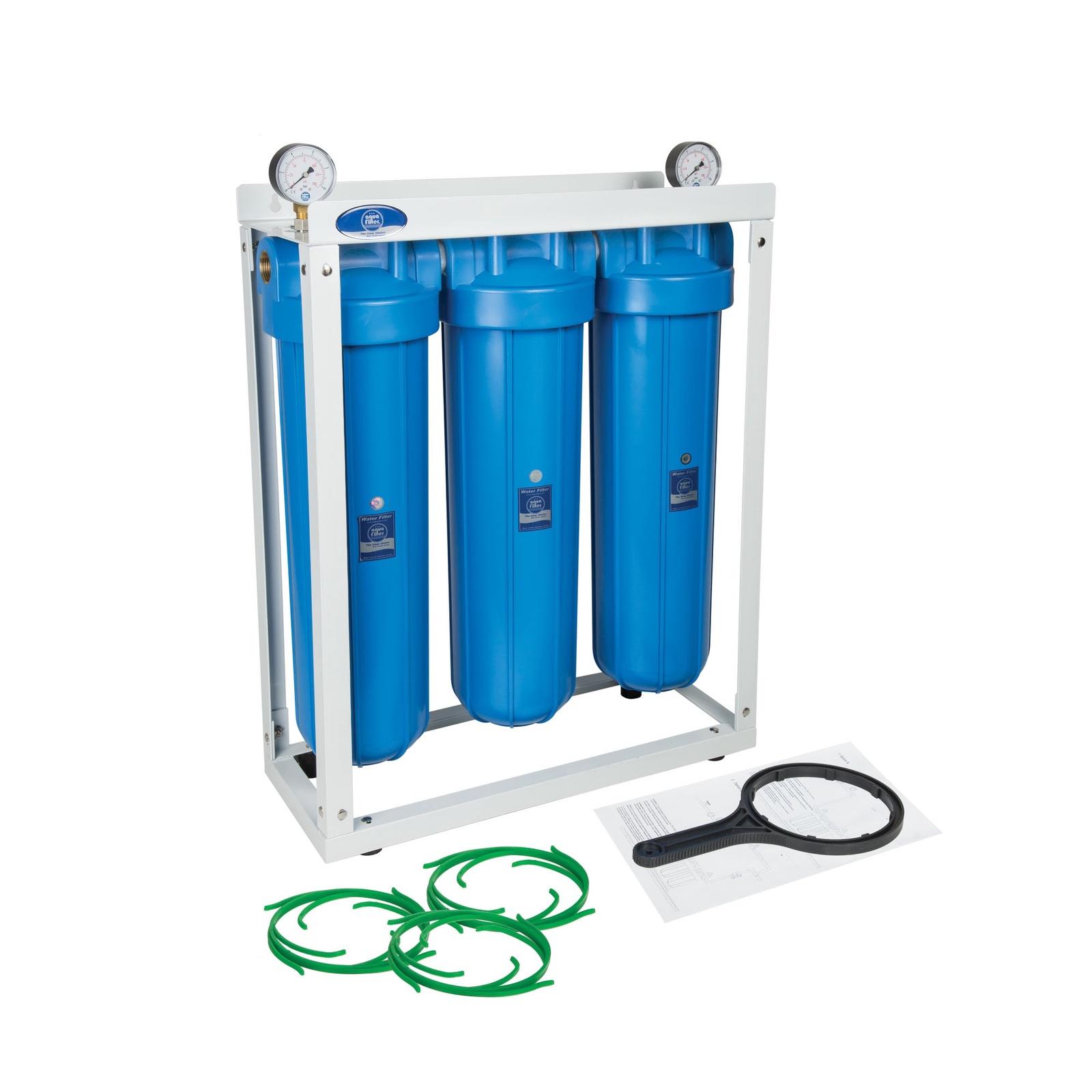 Фильтр из 3-х корпусов 20 BB на стеллаже, с двумя манометрами входе и выходе, Комплексная очистка, Aquafilter HHBB20B, 566