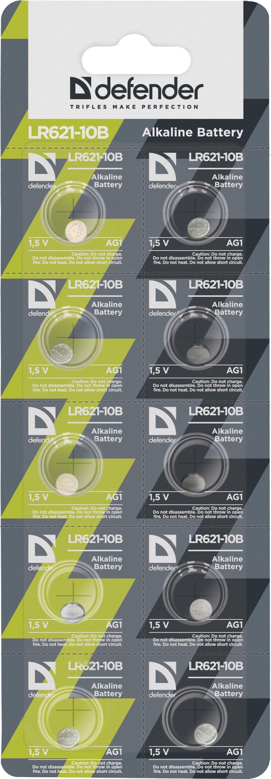 Батарейка алкалиновая Defender LR621-10B AG1, в блистере 10 шт