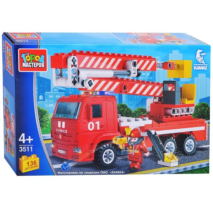 Конструктор Камаз: пожарная машина с люлькой, 136 дет