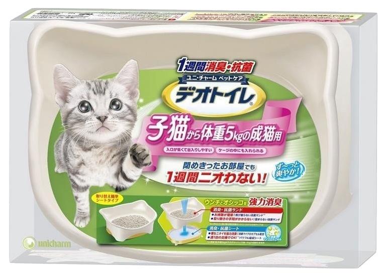 Биотуалет UNICHARM для котят набор: лоток открытый, лопатка, наполнитель 1,5л, подстилка 1шт. наполнитель для кошачьего туалета unicharm с ароматом мыла