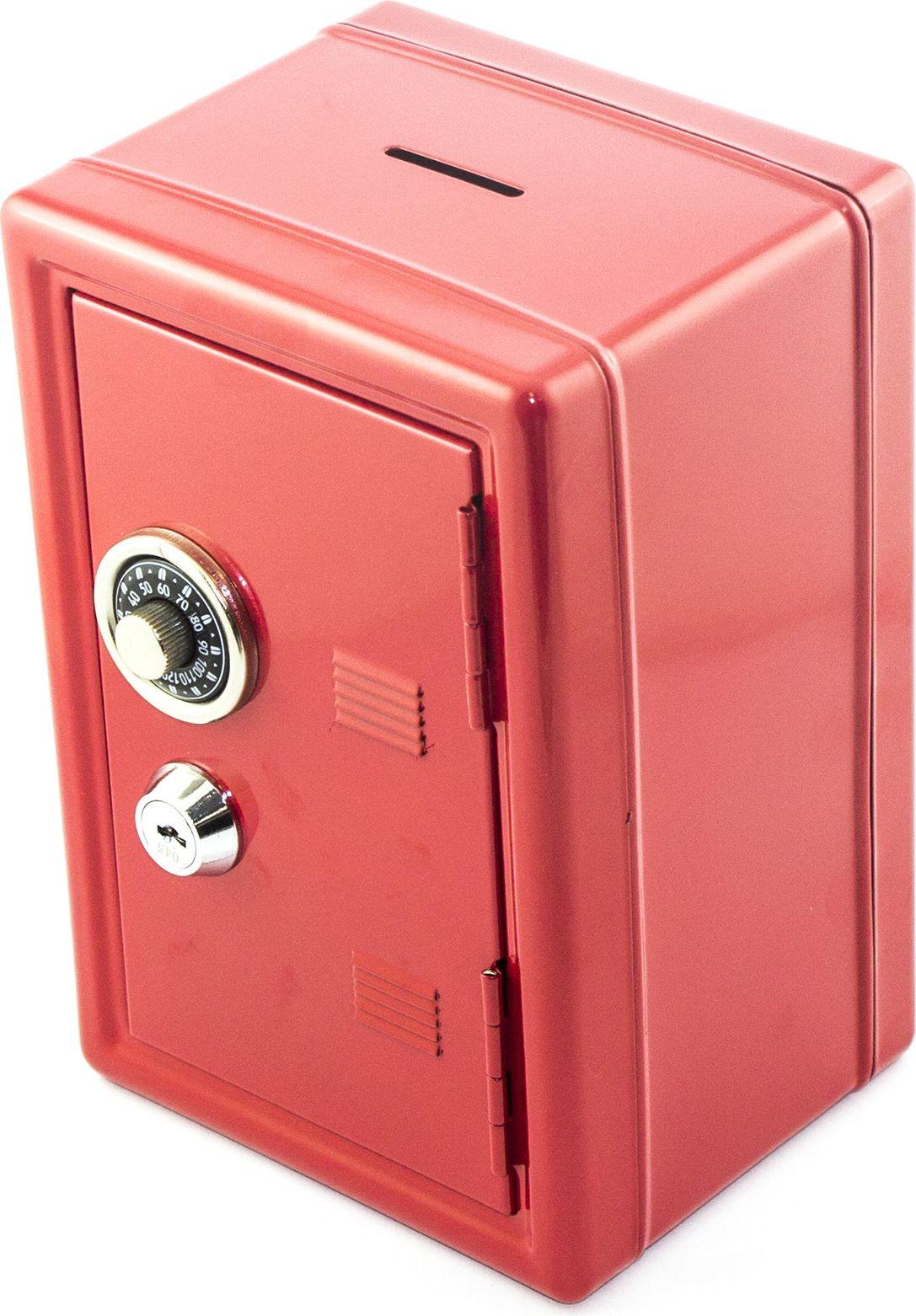 "Копилка Эврика ""Сейф"", с ключом, цвет: красный, 12 х 17,5 х 10 см"
