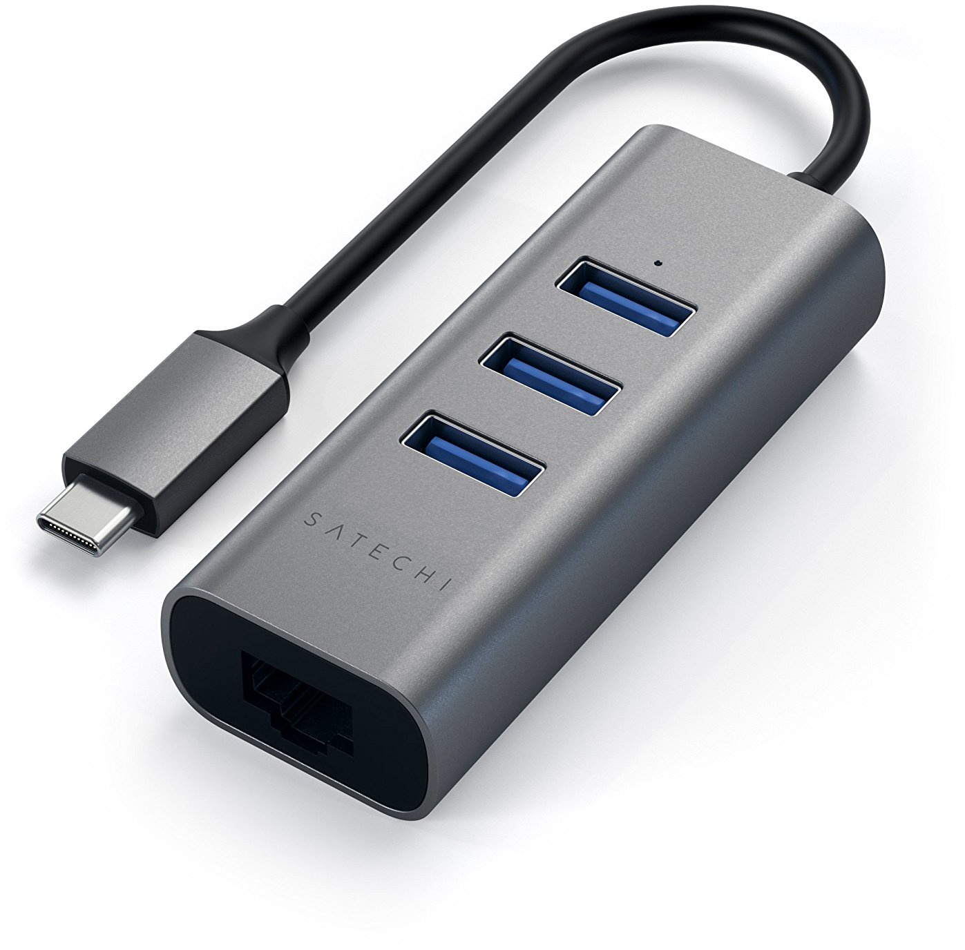 Хаб TYPE-C 2-IN-1 USB 3.0 ALUMINUM 3 PORT HUB AND ETHERNET PORT grey расширитель портов ввода вывода belkin 4 port hub usb c cbl micro b 3 1 usb 3 0