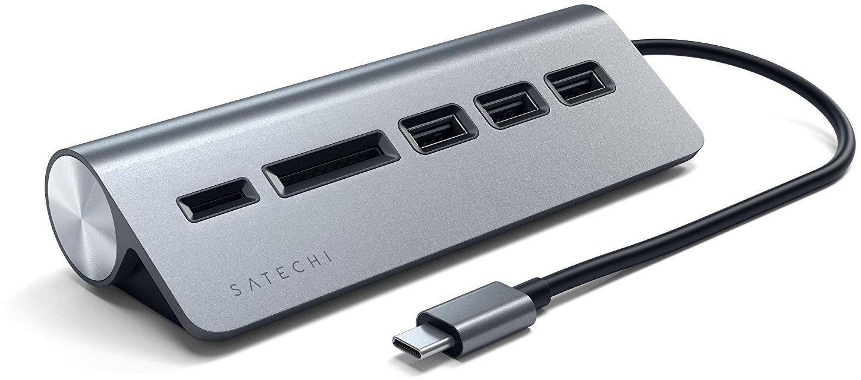Хаб Satechi TYPE-C ALUMINUM USB 3.0 HUB & CARD READER grey satechi aluminum wireless grey st ahpm