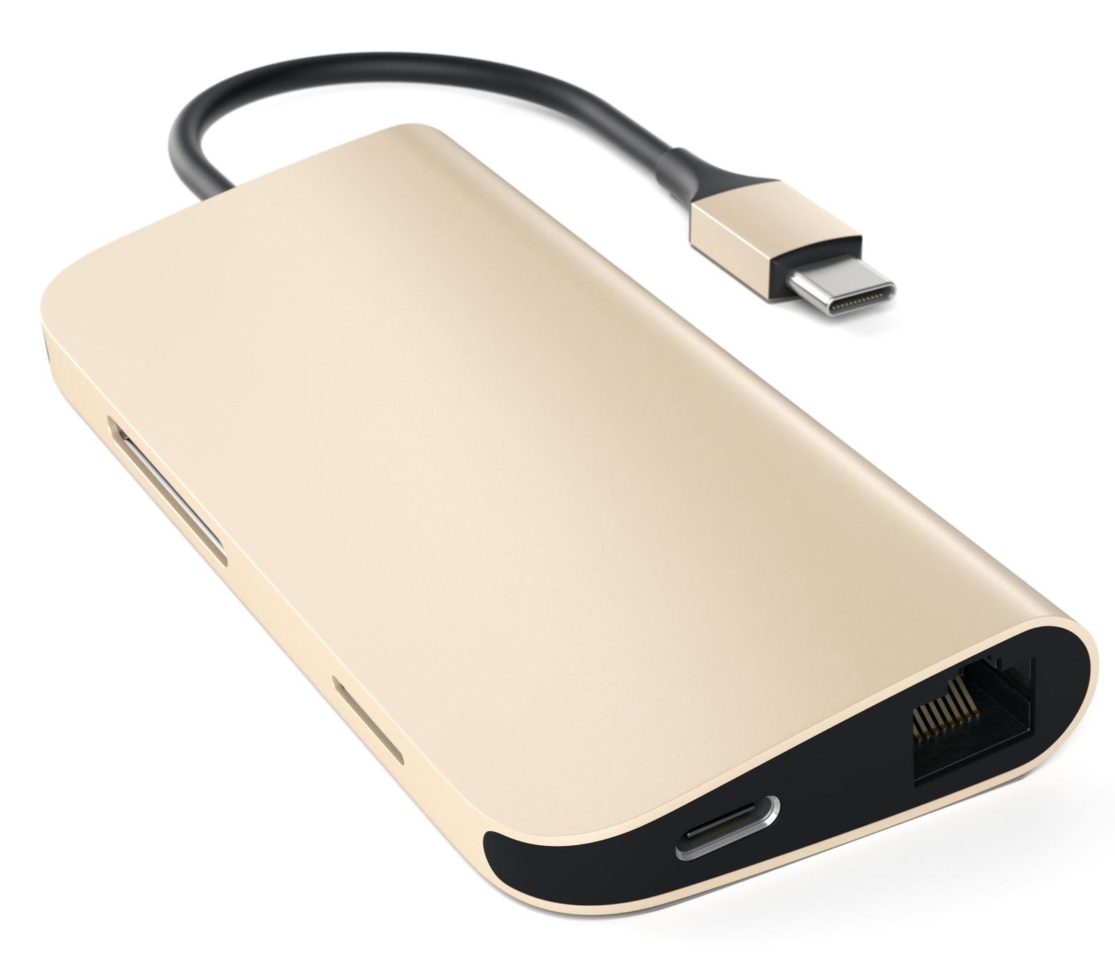Переходник Satechi Aluminum Type-C Multi-Port Adapter (4K HDMI, сквозной порт питания) золотой satechi st cmas silver концентратор type c multi port adapter