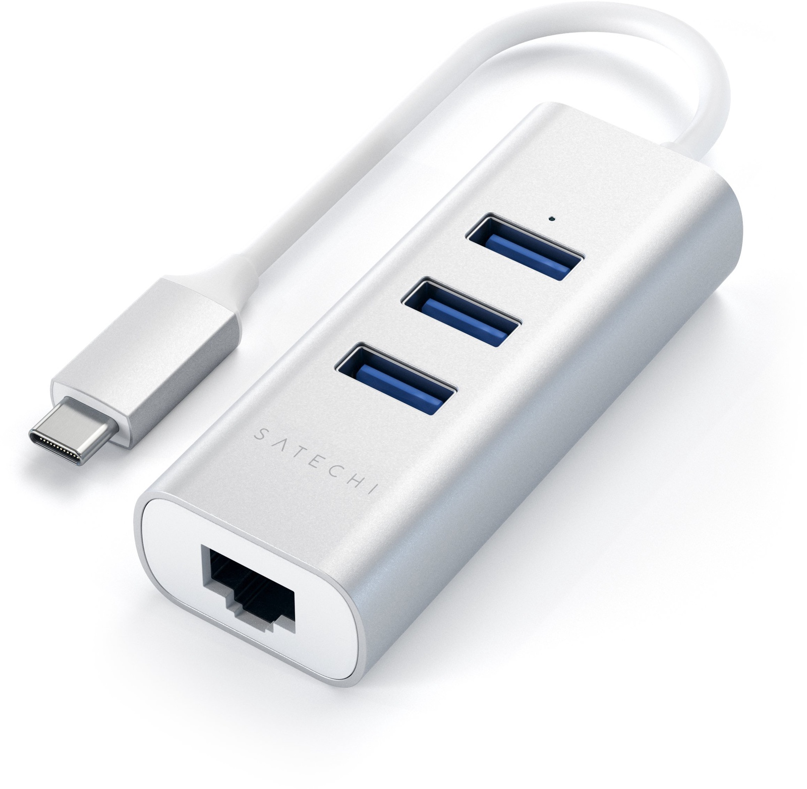 Переходник Satechi Type-C 2-in-1 USB 3.0 Aluminum 3 Port Hub and Ethernet Port Silver расширитель портов ввода вывода belkin 4 port hub usb c cbl micro b 3 1 usb 3 0