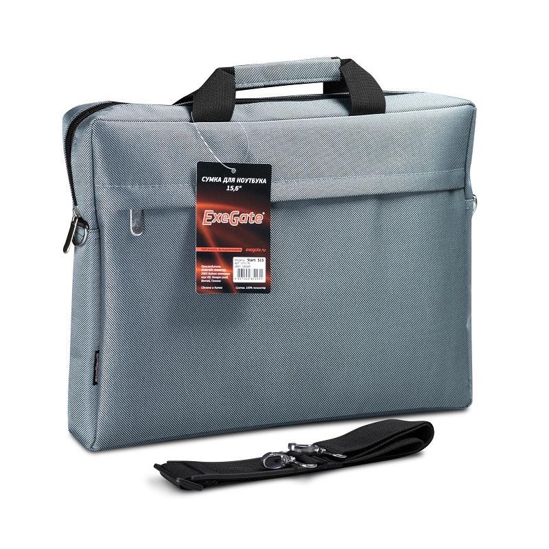 """Сумка Exegate Start S15 Grey, серая, полиэстер, для ноутбуков до 15.6"""""""