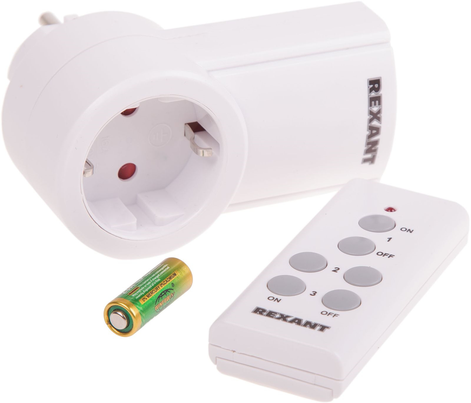 Розетка радиоуправляемая Rexant RX-001, беспроводная + Пульт ДУ, 10-6020, белый пульт ду rexant rx 707e 38 0011