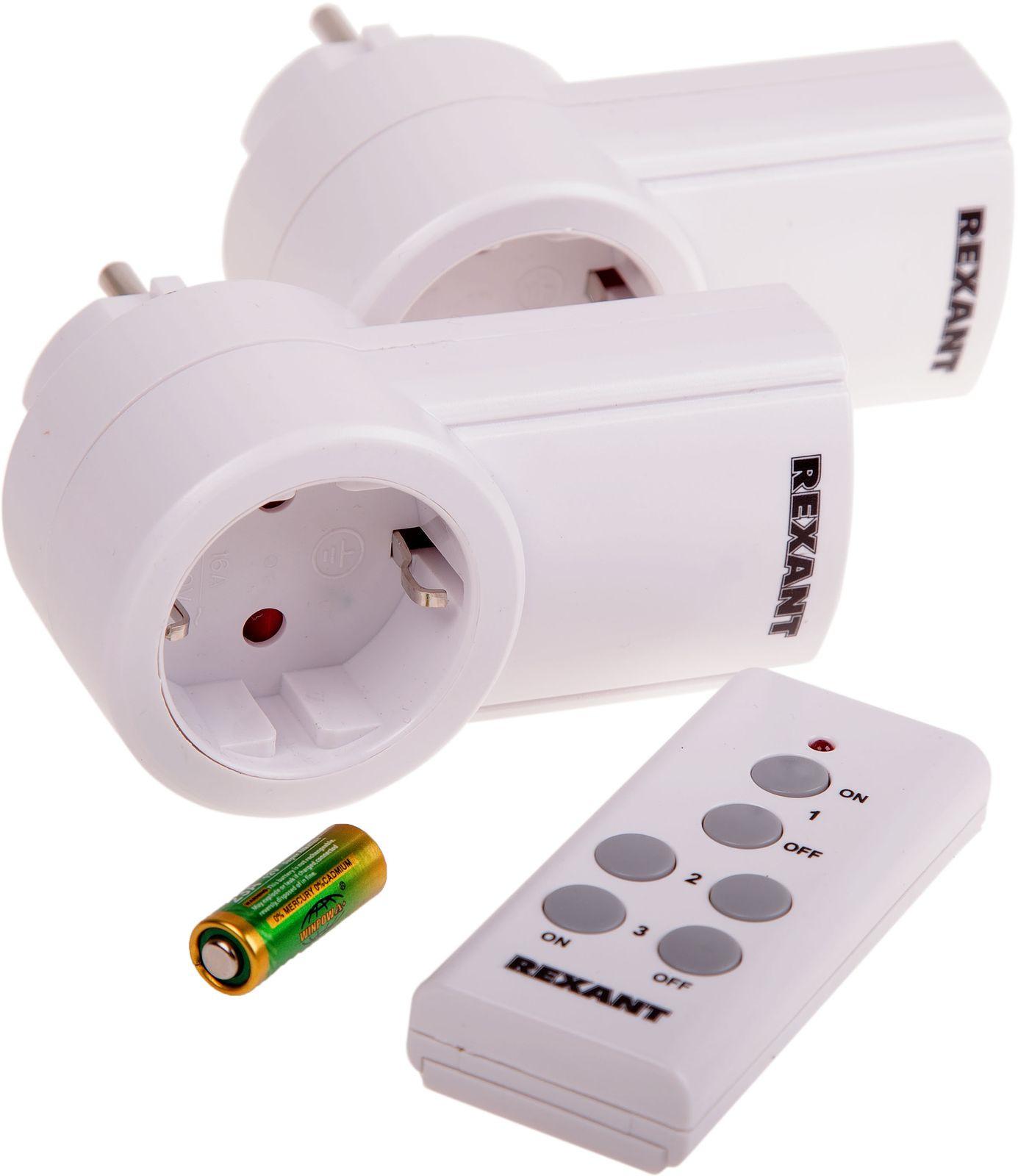 Розетка радиоуправляемая Rexant RX-002, беспроводная, 2 шт + Пульт ДУ, 10-6025, белый стоимость