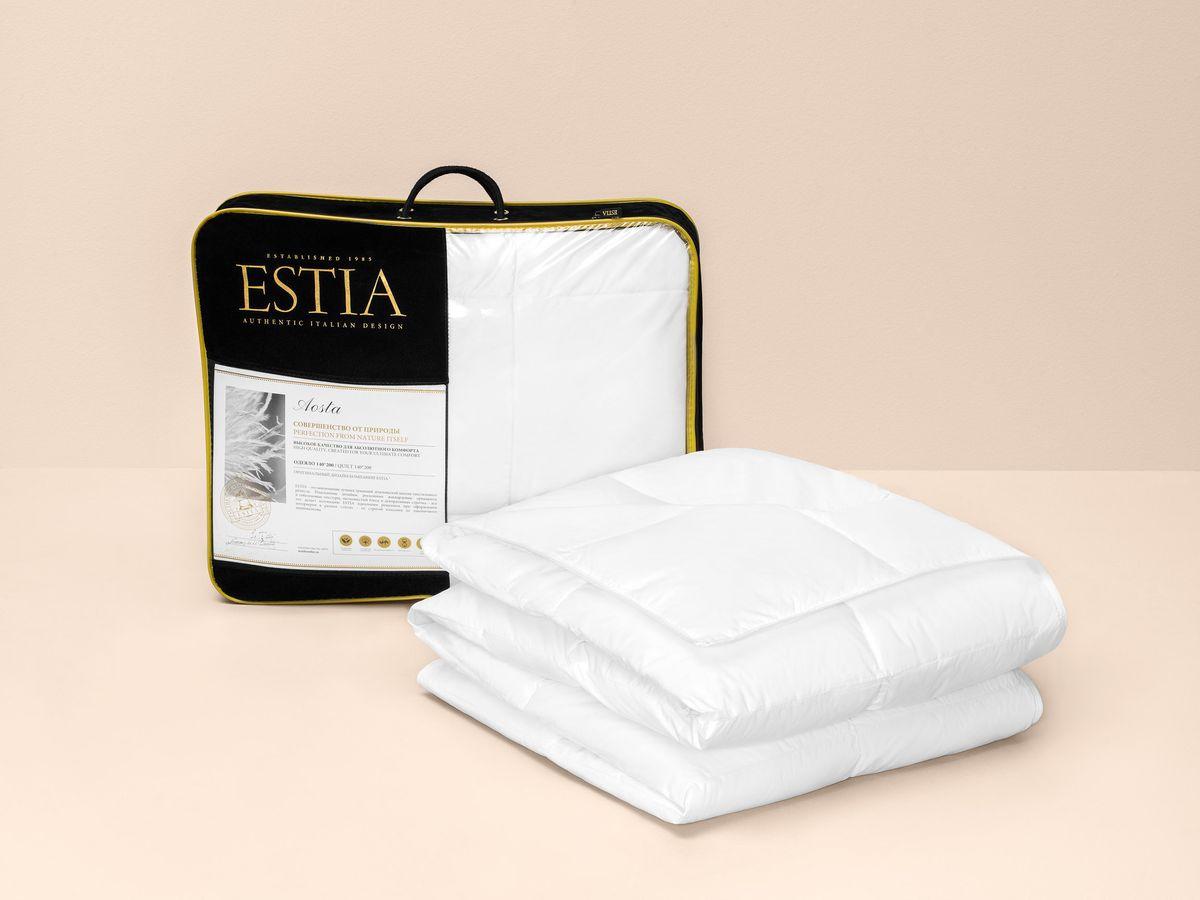 Одеяло ESTIA Аоста Медиум, 1014.00004, белый, 200 х 210 см одеяло estia аоста 200х210см пух 100% арт 1014 00004