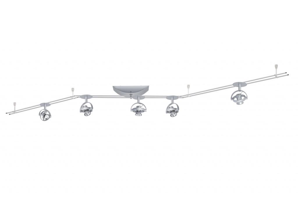 Настенно-потолочный светильник RAIL 12V Mac2 Round 5x20W GU4 230/12V хром матовый (транс 105VA) (L-2,1m,B-30mm)