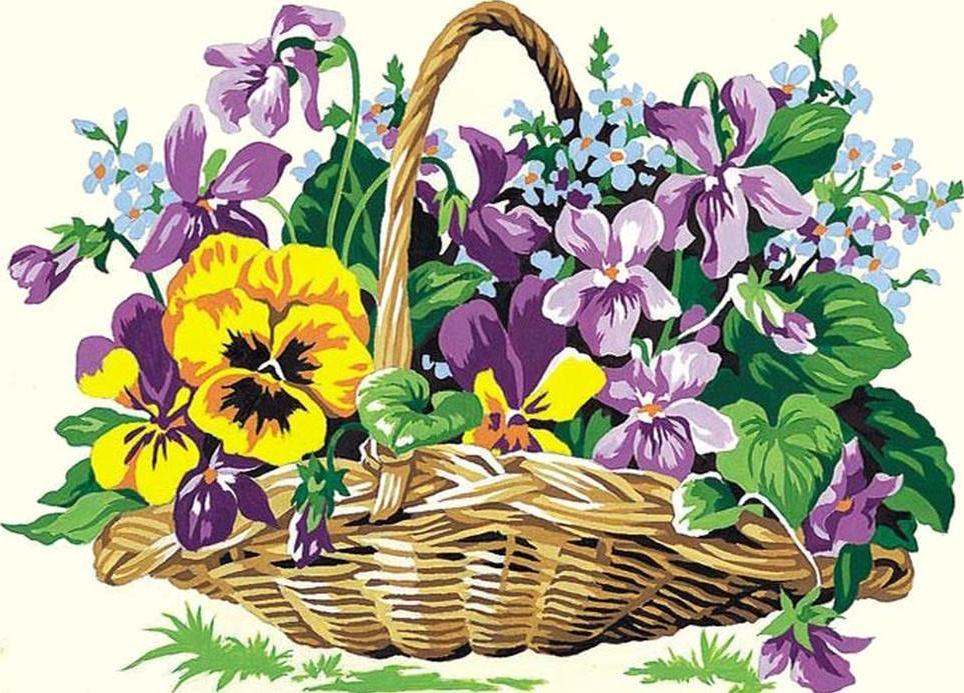 Корзинка с цветами картинки нарисованные, казанскую божью